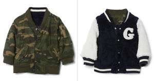Baby gap toddler boys camo sherpa reversible bomber jacket coat