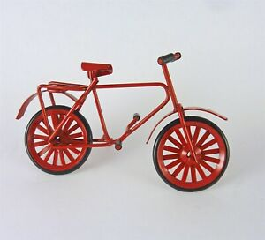 Miniature Dollhouse FAIRY GARDEN ~ Small Rustic Red Metal Bicycle /& Bike Rack