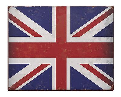 "Union Jack Flag Shabby Chic 8x10/"" Metal Sign Vintage England UK rusty retro #211"