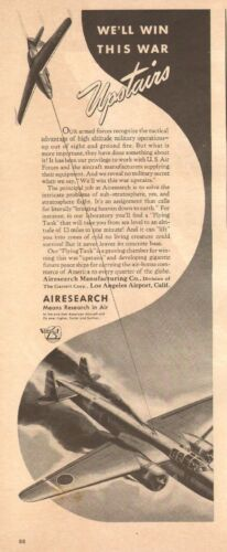 1942 WW2 AD AIRESEARCH Co. Stratospheric flight Japanese Nell shot down 041417
