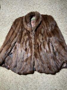 Vintage-real-fur-stole-Jacket-Muskrat-fur-cape-Wedding-fur-wrap-Shawl