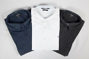 New-Mens-Replay-Slim-Fit-Long-Sleeve-Shirt-Black-White-And-Blue