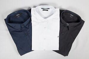 Nuevo-Para-Hombre-Replay-Calce-Ajustado-Mangas-Largas-Camisa-Negro-Blanco-Y-Azul