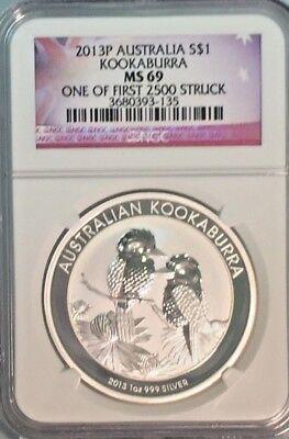 2013 P Australia $1 Silver Kookaburra NGC MS69 One of First 2500 Struck