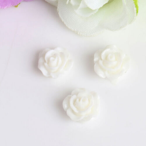 10PCS Vintage Flatbacks Cabochon Rose Flower Resin Lucite Cameo 10MM NICA