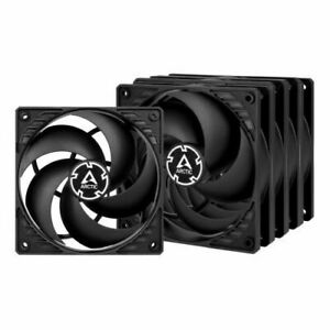 Arctic P12 Pressure Optimised 12cm Case Fans X5 Black Fluid Dynamic Value P