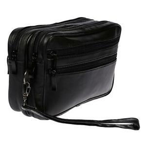 XL-echt-Leder-Doppelkammer-Handgelenktasche-Herrentasche-Tasche-Schwarz