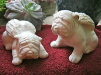 Bulldog Angels, White Concrete Bully Statues, Painted Cement Garden Memoria