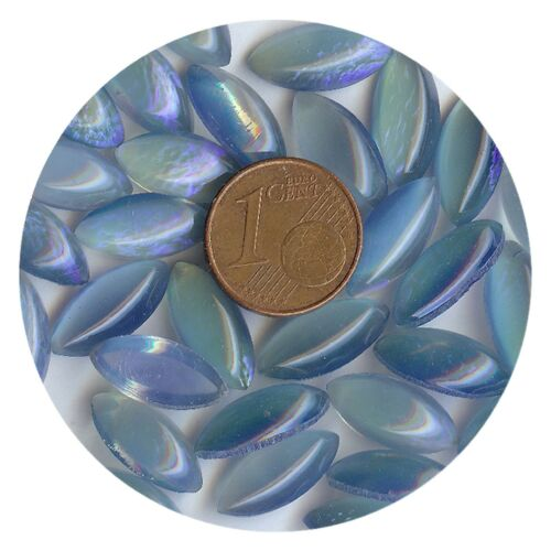 452011 *** 8 CABOCHONS ANCIENS VERRE BOHÊME OLIVE 15x7mm TURQUOISE