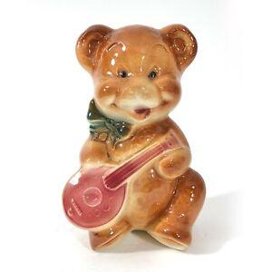Royal Copley Teddy Bear with Mandolin Planter Vase Vintage Ceramic