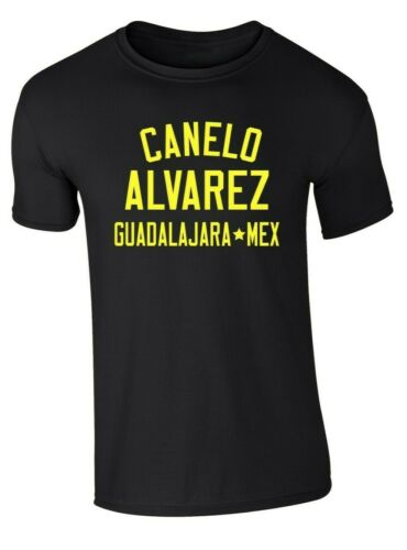 "CANELO ALVAREZ /""Leggende della Boxe/"" Black T-shirt giallo stampa TAGLIE S M L XL XXL"