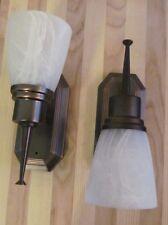 2 RV 12 Volt Oil Rub Bronze Wall Light Lamp Alabaster Glass Shade Clearance