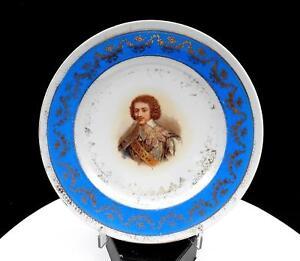 "VICTORIA AUSTRIA CARLSBAD  MARQUIS OF CINQ MARS BLUE & GILT 8 3/8"" PLATE"