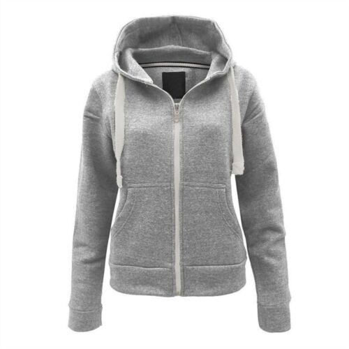 Womens Ladies Plain Coloured Zip Hooded Fleece Hoodie Sweatshirt Hoody Jacket,.