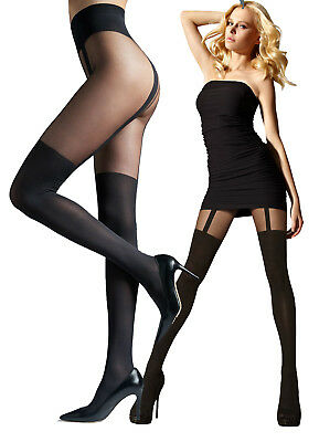 MOCK SUSPENDER STOCKINGS TIGHTS 40//20 DENIER NEW SIZE S-M-L