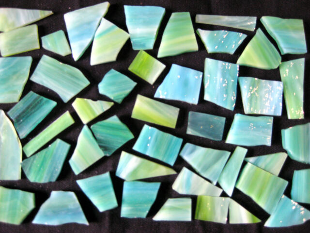 100g Streaky Aqua Lime MOSAIC pieces no cutting Arts & Crafts Sale