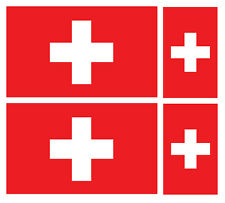 4 X SWISS SWITZERLAND FLAG VINYL CAR VAN IPAD LAPTOP STICKER