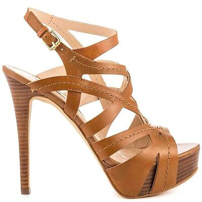 Guess Kylipso Platform Heels In Medium Brown Leather Crisscross Design Size 8.5