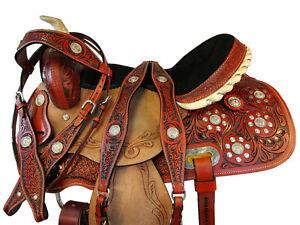 ARABIAN-HORSE-SADDLE-15-16-WESTERN-BARREL-SHOW-PLEASURE-TRAIL-TOOLED-LEATHER-SET