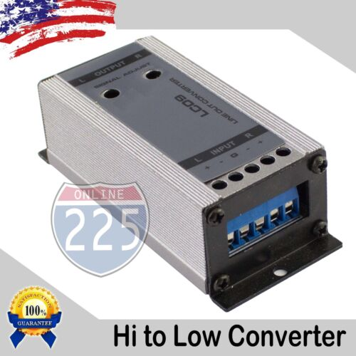 High to Low Output Converter w Gain Control 2-Channel Speaker Wire to RCA Output