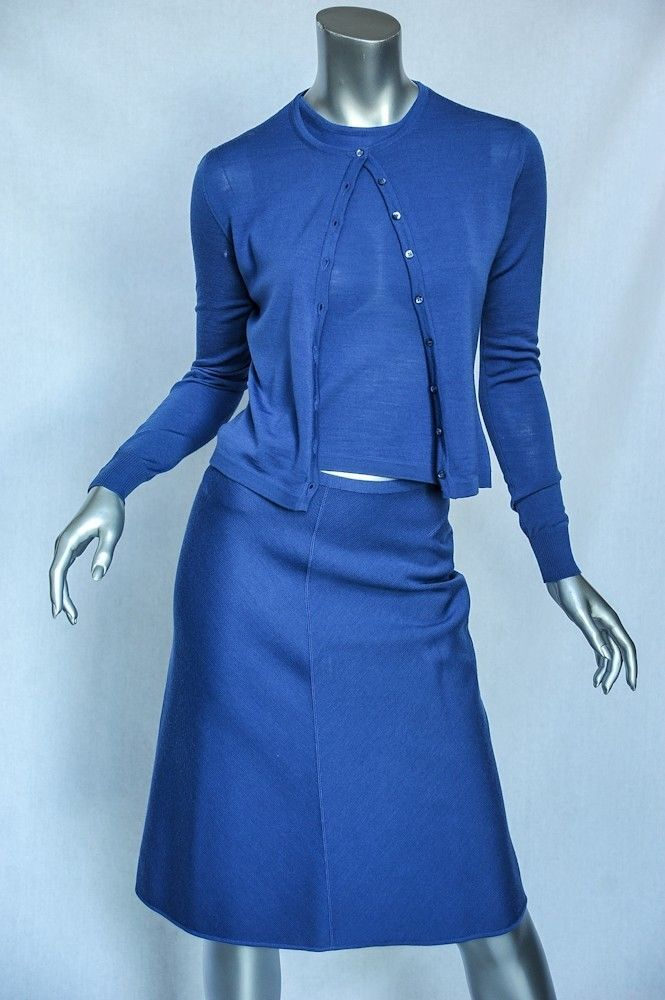 ALAIA  azul Wool Knit 3-PC A-Line Skirt+Blouse+Cochedigan Sweater Outfit Suit Set S  mejor opcion