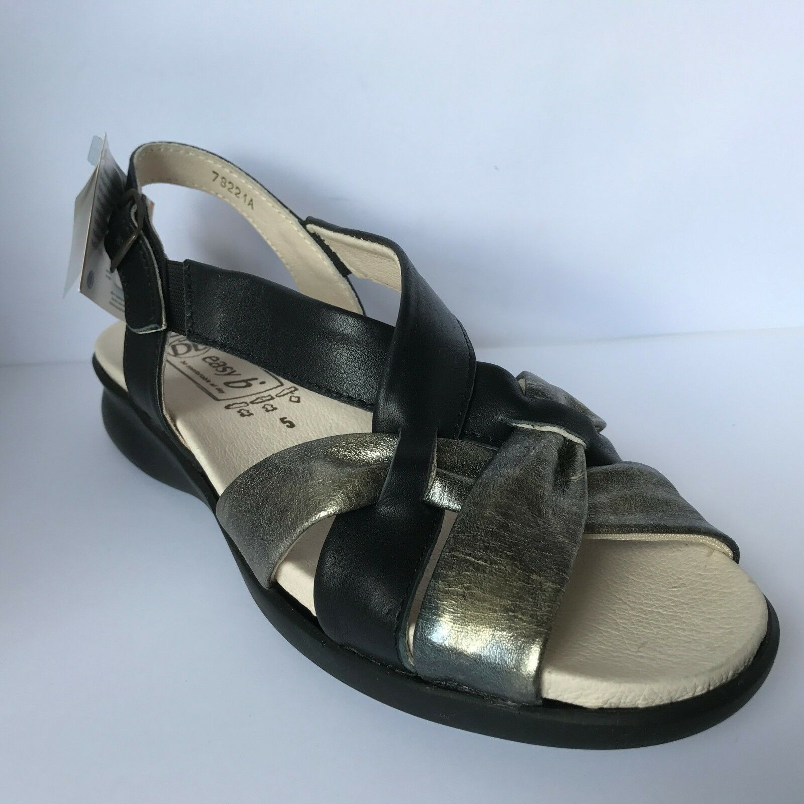 Easy B Stround Variable Sandals Leather Negro/Pewter EE-EEEE Fitting Variable Stround New £37.99 317cf1