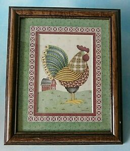 Debbie Mumm Rooster Chicken Wall Hanging Glass Framed Matted Print 12 X 10 Ebay