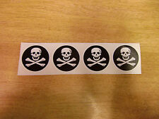 4x Jolly Roger / Pirate Flag stickers - 46mm decals  - wheel centres helmets etc