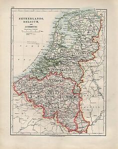 image is loading 1909 victorian map netherlands belgium amp luxemburg brabant