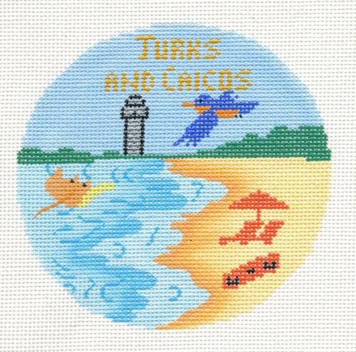 """Ornament Silver Needle Turks /& Caicos handpainted Needlepoint Canvas 4.25/"""" Rd"""