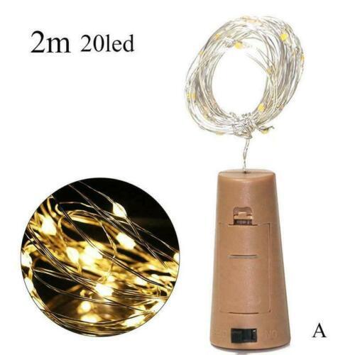 2 M Wine Bottle Cork Light String Gypsophila Copper With Battery Wire Light B2B5