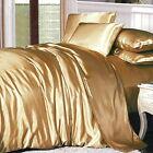 GOLD SATIN KING Size Doona Duvet Quilt Cover Luxury Soft Silk Feel Bedding Set