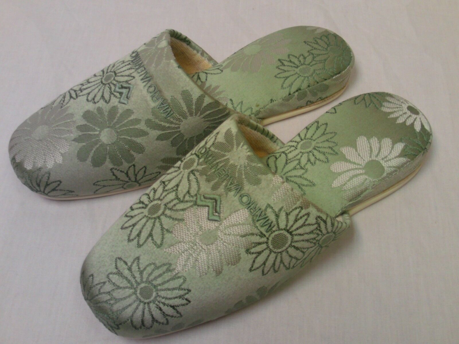 Mario Valentino Women's Lime Floral Embroidered Slippers