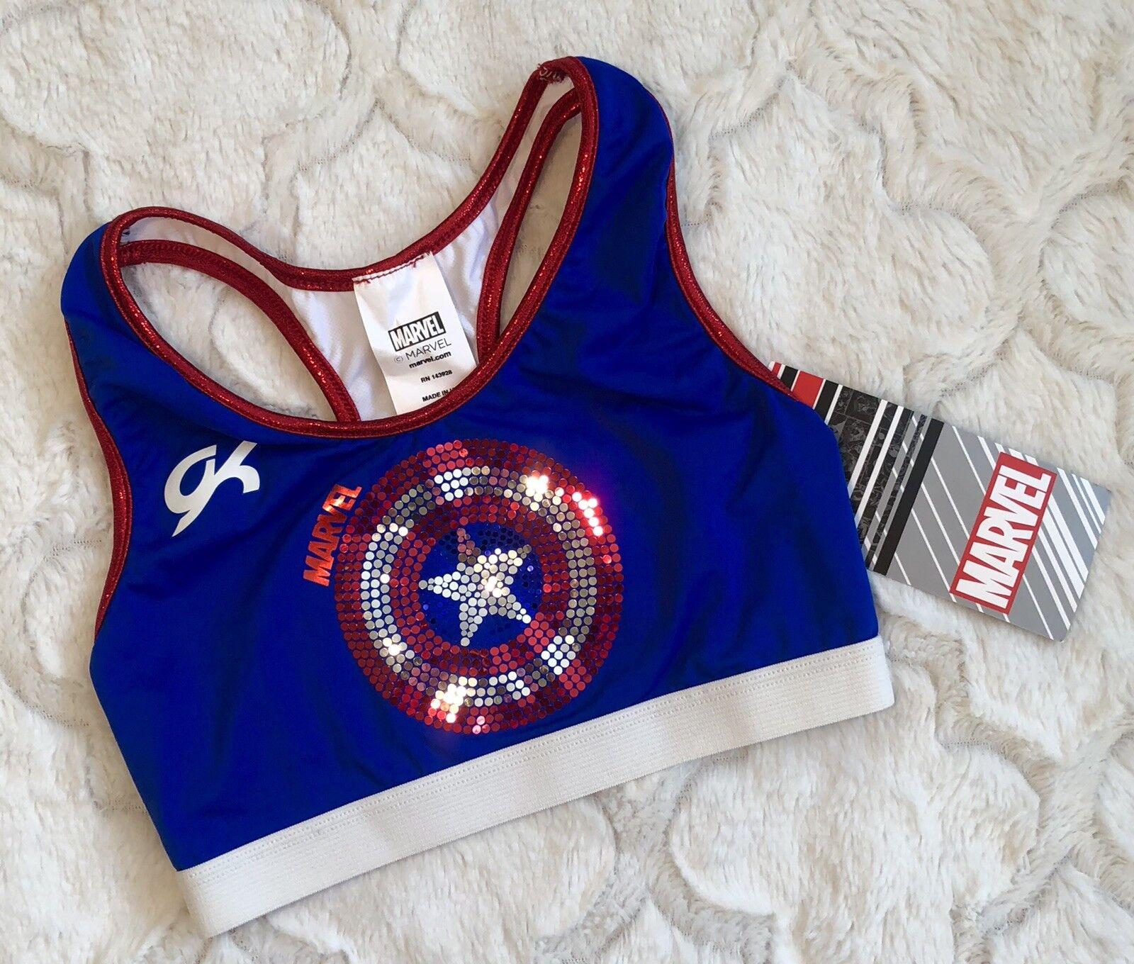 GK Elite CAPTAIN MARVEL Avengers CROP Bra TOP Leotard Gymnastics SEQUIN BLING CL
