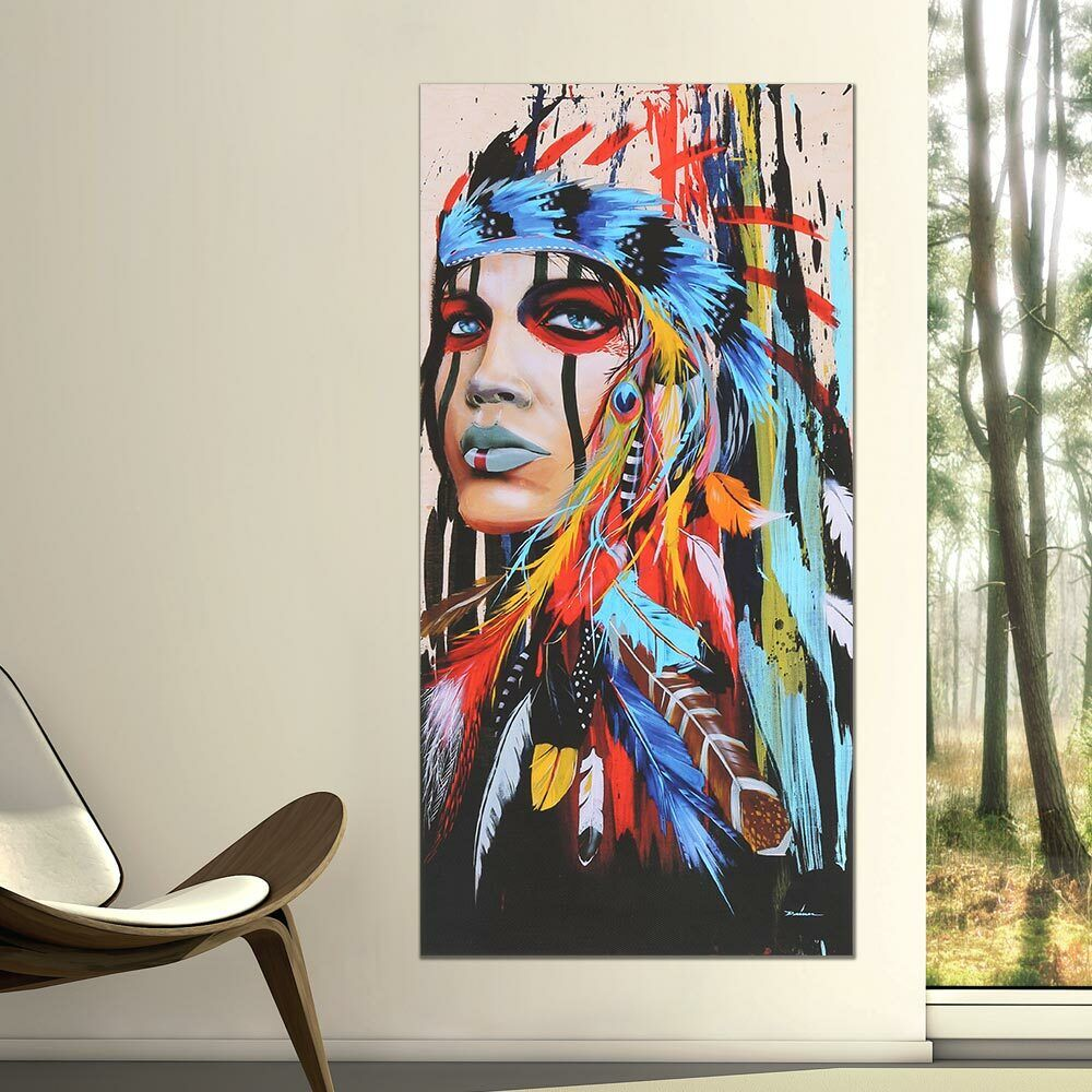 Abstract Indian Woman Canvas Oil Painting Print Picture Home Wall Art Decor 4