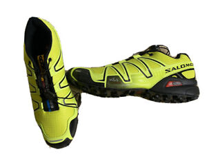 Mens SALOMON Speed Cross Speedcross 3 Neon Green Running Trail Shoes Size 10 US