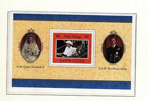 (13482) St Lucia Neuf Sans Charnière Queen Royal Noces D'or 1997 Minisheet U/m Comme Neuf-afficher Le Titre D'origine Grandes VariéTéS