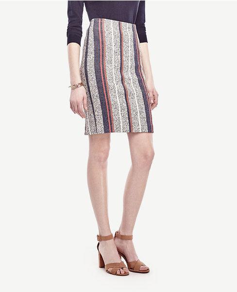 Ann Taylor - Petite 4P Navy Brown Racer Stripe Tweed Pencil Skirt  109.00 (611)