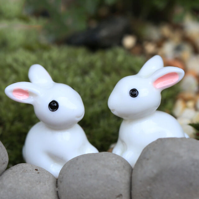 2X Miniature Rabbit Figurine Fairy Garden Dollhouse Decor Pots Ornament DIY  LL