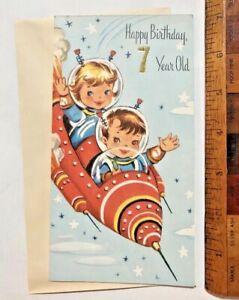 VINTAGE-1960S-GIRL-amp-BOY-SPACEMEN-IN-ROCKET-SHIP-AUSSIE-BIRTHDAY-CARD-UNUSED
