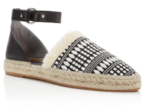 M Flats Vicky Strap Ankle 9 Leather Rebecca Minkoff White New Espadrilles Black PE7axqnC