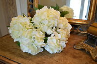 Bunch Of 5 Large Ivory / Cream Silk Hydrangeas, Faux Artificial White Flowers