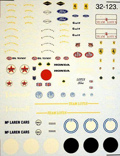 Fórmula 1 patrocinadores 50/' ties and 60/' ties 1:43 decal estampado