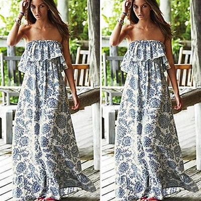 Stylish Women Floral Backless Sleeveless Dress Boho Evening Party Maxi Dress