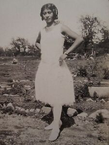 ANTIQUE-VINTAGE-AFRICAN-AMERICAN-BEAUTY-ARTISTIC-WHITE-DRESS-30s-FASHION-PHOTO