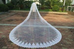 New Design 2T Cathedral 3M/4M/5M Long wedding Bridal veil lace Edge veil +Comb