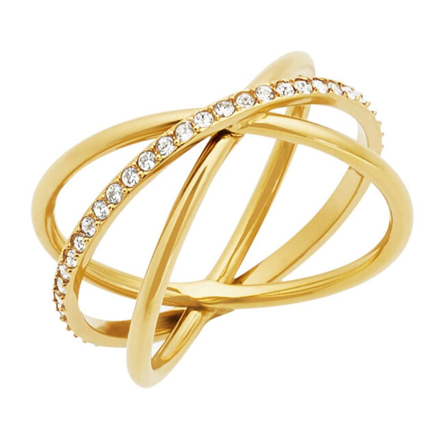 b0ca3d57849a MICHAEL KORS MKJ5531 Brilliance Gold Pave Criss-Cross Open X Ring MKJ5531710