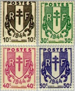 EBS-France-1945-Broken-Chains-Chaines-brisees-YT-670-673-MNH