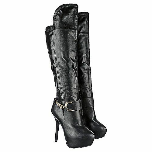 Black Winter Fashion Over the Knee Dress High heels Boots Platform Women Shoes