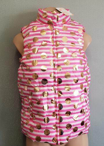 BNWT Girls Sz 8 Funky Babe Hot Pink Stripe Foil Dot Padded Zip Front Puffer Vest